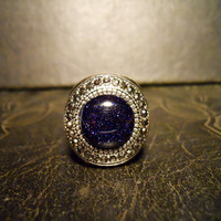 wide Contained Galaxy Starry Night Blue Goldstone Ring sz8