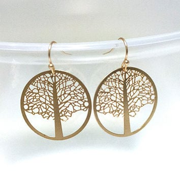 Simple Elegant Tree of Life earrings in gold,simple, everyday, nature, woodland, birthday gift, stud earrings