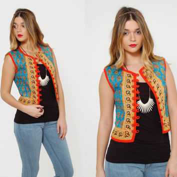 Vintage 70s INDIAN Vest QUILTED Ethnic Vest Turquoise Boho Vest PAISLEY Hippie Top Layering Piece
