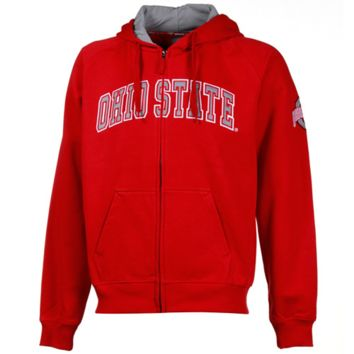 Ohio State Buckeyes Red Automatic Full Zip Hoodie Sweatshirt