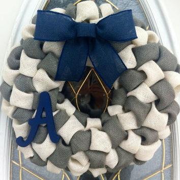 Burlap Bubble Wreath in Navy Gray Ivory