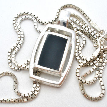 Sterling Silver Black Onyx Pendant Necklace 20""