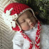 Crocheted Baby Girl Hat Red w Snowflake Newborn 0 3 mo