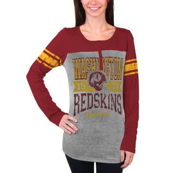 Washington Redskins New Era Women's Tri-Blend Henley Long Sleeve T-Shirt - Gray/Burgundy