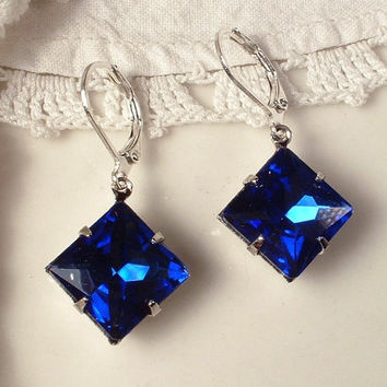 Vintage Art Deco Square Sapphire Dark Cobalt Blue Rhinestone Silver Dangle Drop Earrings 1920s Flapper Bridal Bridesmaids Gifts 1920s