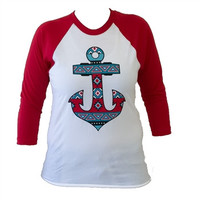 Southern Couture Aztec Tribal Anchor White Girlie Raglan Long Sleeve Bright T Shirt