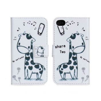 Giraffe Wallet Leather Case For iPhone 4 4S with Stand TV Function & card slots