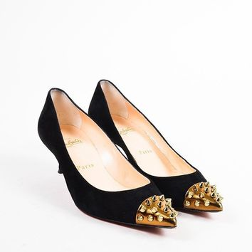 DCCK2 Christian Louboutin Black and Gold Suede Spike Studded Cap Toe Geo 45 Pumps