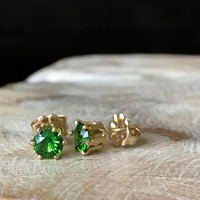 CZ Earrings, CZ Stud Earrings, Emerald Green CZ Stud Earrings Gold or Silver, Emerald Green Stud Earrings, May Birthday Gifts May Birthstone