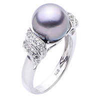 10.5mm Tahitian Pearl Ring in Sterling SIlver