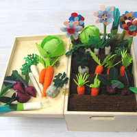 Felt Fabric Vegetable Garden Play Set, Toy Mini Garden, Pretend Veggies Big Set For Kids, Little Gardener Vegetable Patch Little Housekeeper