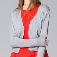 Grey V-neck Knitted Cardigan