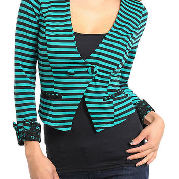 Striped Cropped Blazer in Teal & Black