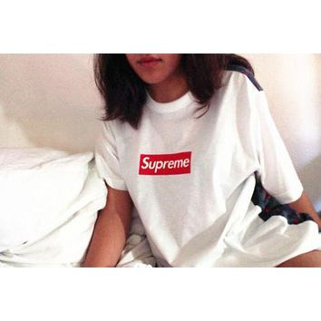 Casual Supreme Unisex Short Sleeve Cotton T Shirt Tops