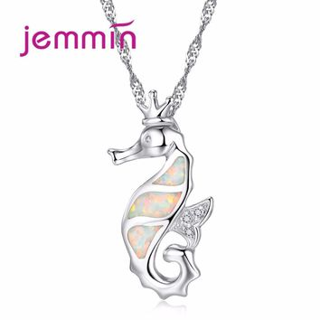 Jemmin Chic White Sliver Fine Jewelry Sea Hand Making Summer New Style Horse Pendant Necklace With Long Chain For Women And Men