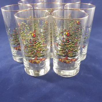 Spode Christmas Tree Highball Glasses with Gold Rim S/8