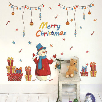 1 PCS Removable Christmas Wall Sticker Snowman Decal Ornaments New Year Party Decor