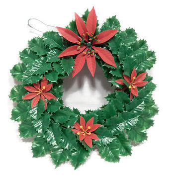Vintage Plastic Christmas Wreath, Red and Green 1960's Holly and Poinsettia Wreath, Kitsch Christmas Ornament Wreath Wall Door Decor