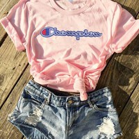 Champion Hot Sale (8-color) Tee shirt top Pink