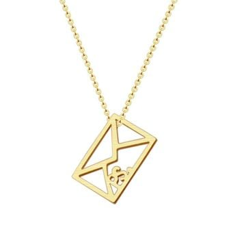 Romantic Gold Color Love Letter Necklace Women Men Bff Gift Fashion Jewelry Stainless Steel Movable PS Envelope Pendant Necklace