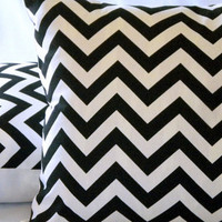Black and white Chevron   18 X 18 by MicaBlue on Etsy