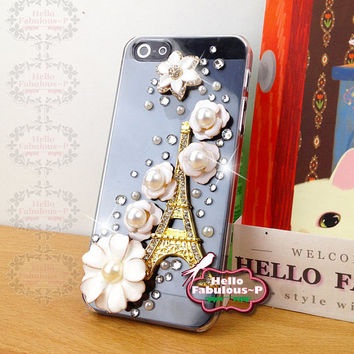 Rhinestone iPhone 5 Case Floral iPhone Case iPhone 4 Case Phone Case Studded iPhone 5 Case Flower Ballet Samsung Galaxy Personalized Cover