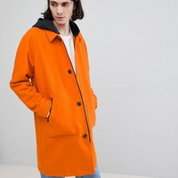 ASOS Wool Mix Trench With Jersey Hood In Orange at asos.com