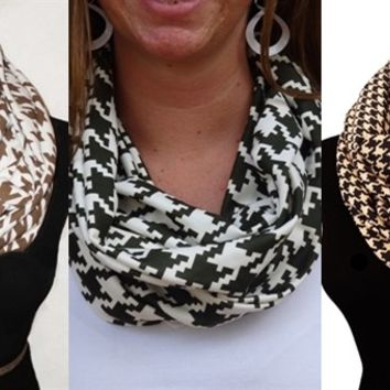 Chic Houndstooth Infinity Scarves-Perfect Holiday Gifts