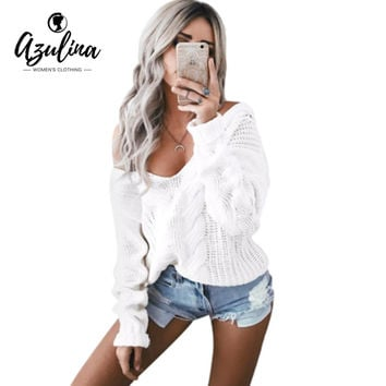AZULINA Warm White Sweater Women Sexy Off Shoulder Crochet Female Pullover Jumper Long Sleeve Knitted Sweaters Winter Pull Femme