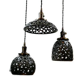 Handcrafted Gray Handcarved Hanging Pendant Light
