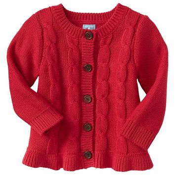 Gap Baby Factory Ruffle Cable Knit Sweater
