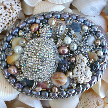 Crystal Turtle Ocean Bling Belt Buckle Western Rodeo Cowgirl