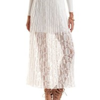Pleated Lace Maxi Skirt by Charlotte Russe