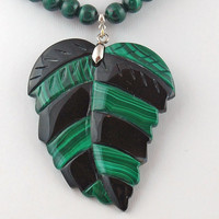 Malachite and Onyx Leaf Pendant with Malachite, Onyx and Sterling Silver Necklace, Statement Necklace, Gemstone Bead Necklace, Bohemian