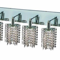 Wiatt - Wall Fixture Oblong Canopy with Star Pendant (5 Light Contemporary Crystal Vanity Fixture) - 1093W-O-P