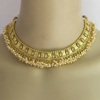 Gold Polki Pearl Necklace Set/South Indian Wedding Necklace/Bollywood Choker Nec