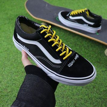 LMFUX5 Coutie x Vans One World Old Skool Black White Yellow Casual Shoes Canvas Shoes
