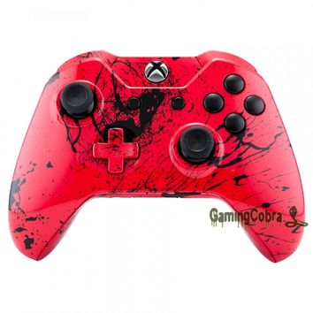 Red Ink Pattern Repair Kit Cover Full Set Shell Buttons for Xbox One Controller #NXOS072