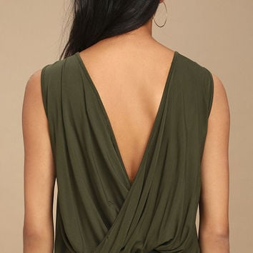 Tango Twist Olive Green Sleeveless Top