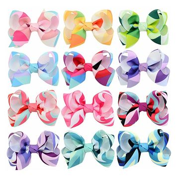 12 Pcs/1set 3 inch Rainbow Stripe Print Colored Bow Alligator clips Girls' Cloth Wrapped Hairpins Kids Hair Accessories 746