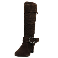 Womens Knee High Boots Folded Cuff Buckle Accent Side Zipper Closure Brown SZ