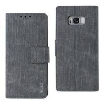 REIKO SAMSUNG GALAXY S8/ SM DENIM WALLET CASE WITH GUMMY INNER SHELL AND KICKSTAND FUNCTION IN GRAY