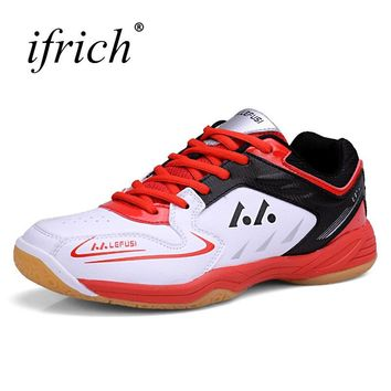 Men Women Badminton Sport Shoes Yellow Red Couple Gym Indoor Sport Shoes Comfortable Sneakers for Badminton Trainers
