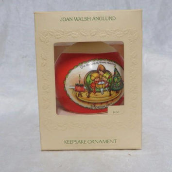 Vintage 80s Hallmark Ornament Satin 1981 Ball Christmas Joan Walsh Anglund w Box Country Chic New Old Stock Ditsy