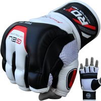Authentic RDX Leather Gel Tech MMA Grappling Gloves Black White