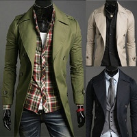 New Slim Fit Men Double Breasted Trench Coat