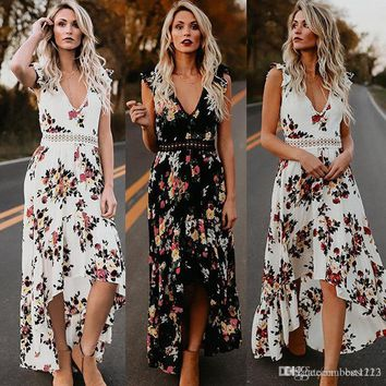 Sexy deep V neck backless summer dress Women floral print bohemian maxi dress Hollow out irregular long dress vestidos