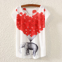 New Summer Loose Chiffon Animal Print Casual T Shirt Women Love Elephant Heart O Neck Blouses Lady Top Free Size WSS02-0029