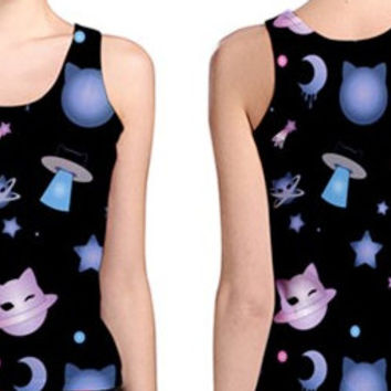 Kawaii Harajuku Fairy Kei Pop Kei Spank Galaxy Pastel Goth Lolita Cat Space Tank Top