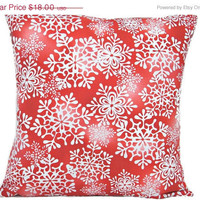 Christmas Snowflakes Pillow Cover Red White Decorative 16x16